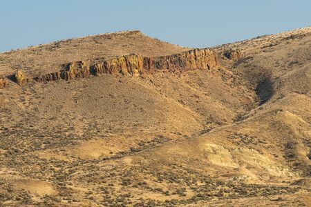 Views of the arid, wavy and colorful landscape of Painted Hills, Oregon, USA. Stock Photo