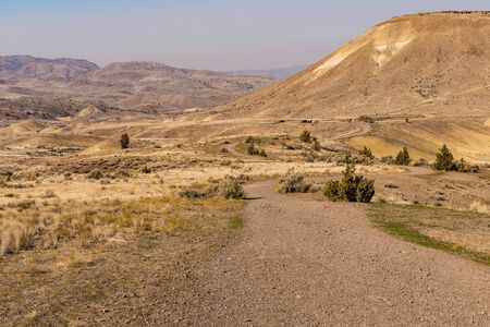 Views of the arid landscape of Painted Hills, Oregon, USA.