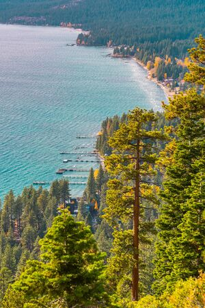 Views of the shores and docks of Lake Tahoe from Historic Stateline Fire Lookout, California, USA