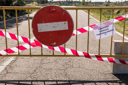 Portugal and Spain shut their border because of the risk of COVID-19 coronavirus infection. Road cut in La Codosera, Badajoz, Spain.