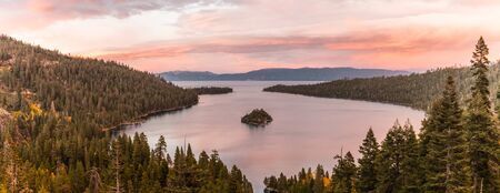 Panoramic sunset view over Fannette Island at Emerald Bay in Lake Tahoe, California, USA