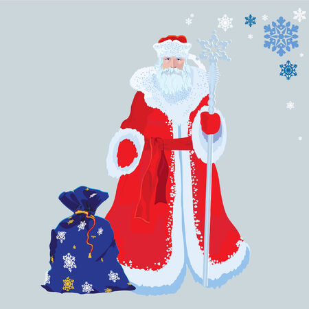 Russian Santa Claus with a gift vectors