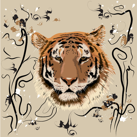 Bengal tiger on the background of the national pattern