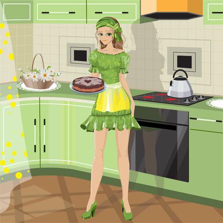 girl with baking Stock Illustratie