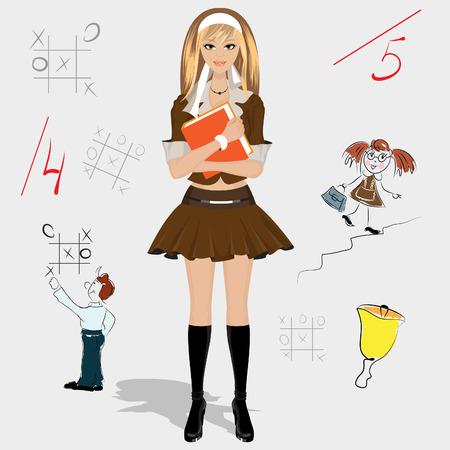 colegiala: ni�a de la escuela en formato  Vectores