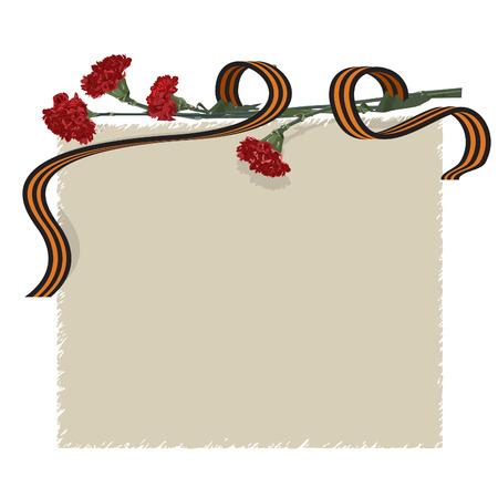 carnation flower and ribbon Illustration