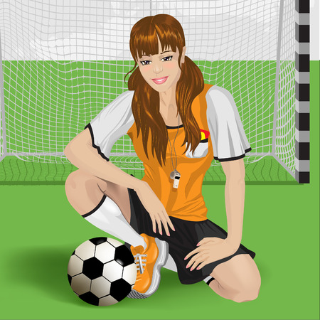 football girl sitting Vector