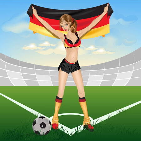 The girl germany soccer fan Stock Vector - 7076537