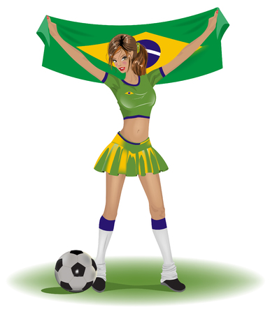 futbol soccer dibujos: Ventilador de fútbol de Brasil chica