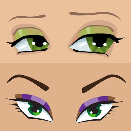 sensuality: Green eyes girl Illustration