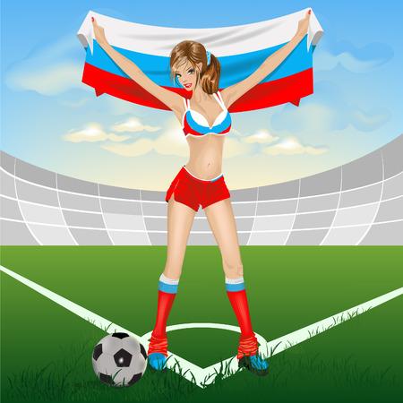 the netherlands: Russisch meisje voet bal fan