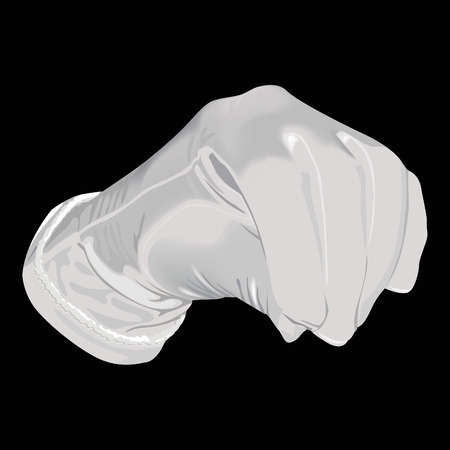 The white glove on a black background