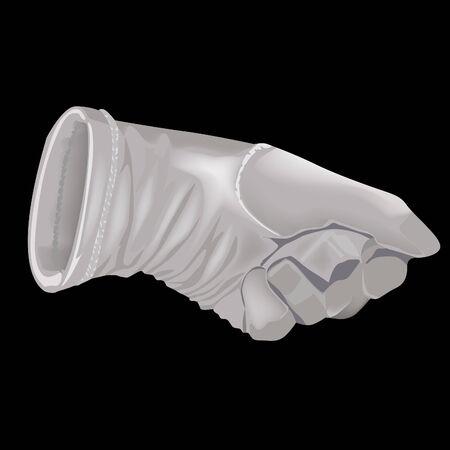 gant blanc: Le gant blanc sur fond noir Illustration