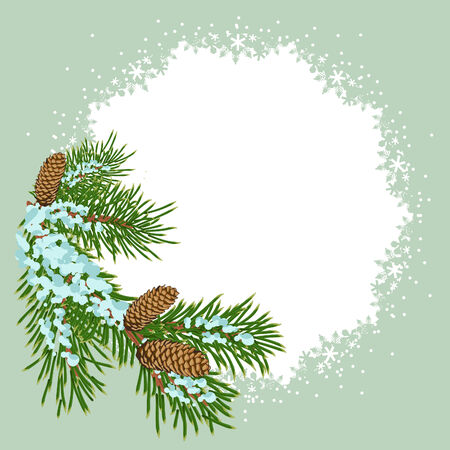 evergreen: The christmas decoration placard Illustration