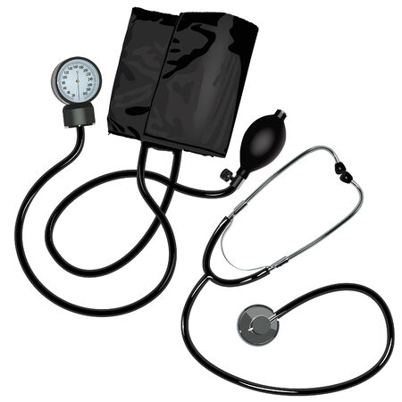 devices: The stethoscope and pressure gauge device on white background.
