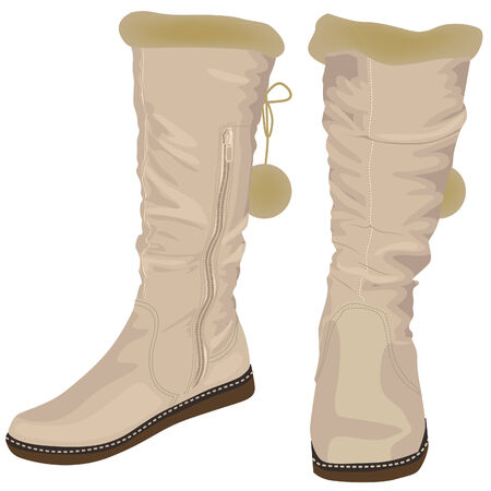 womens: White womens boots with fur