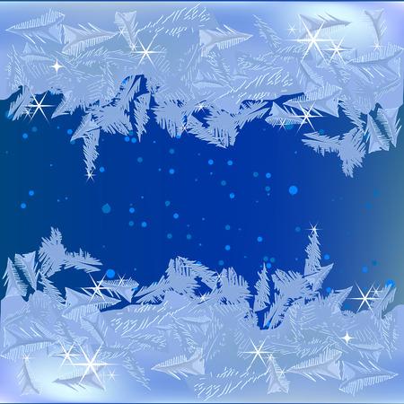 Bevroren vorst op het venster Stock Illustratie