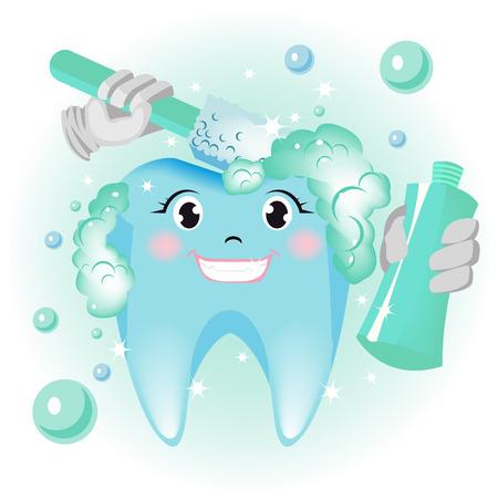 diente caricatura: Limpieza de diente