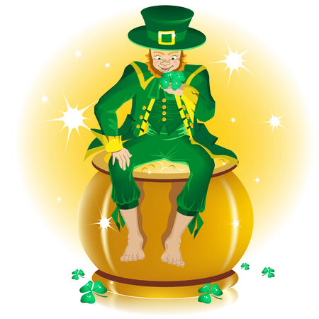 pot of gold: Saint Patrick and pot gold Illustration