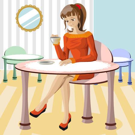 beautiful girl drinking coffee Vector