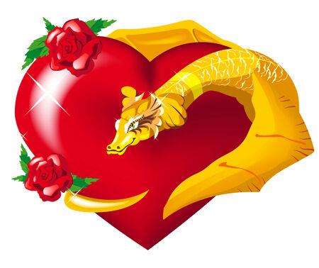 gold dragon heart hugs Vector
