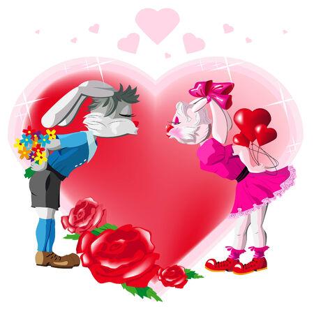 Two lovers kissing rabbits Illustration