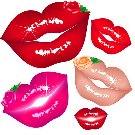 Set women lips Vector