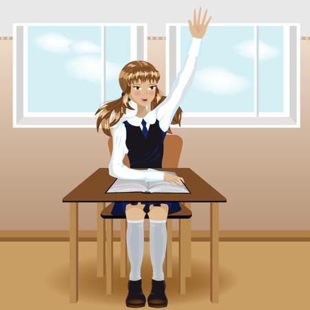 Schoolgirl sitting and raises his hand Illustration