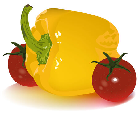 tomato cherry: Yellow pepper and tomato cherry Illustration