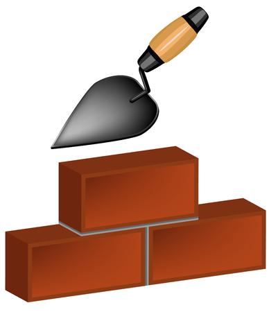trowel and bricks Stock Vector - 8875309