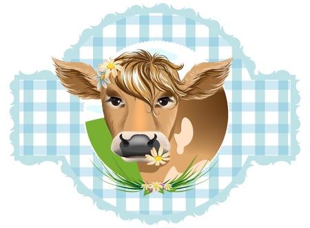 vaca caricatura: Vacas con flores en sus dientes Vectores