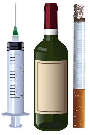 pernicious: charset wine syringe cigarette Illustration