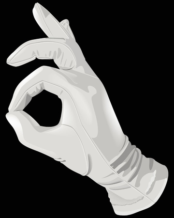 gant blanc: La main des gants blancs correct