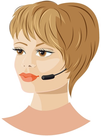 phonecall: Girl headset support Illustration