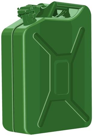 canister: Metal canister of gasoline  Illustration