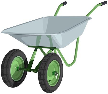 Metal wheelbarrow isolated  Illustration Stock Vector - 18789730