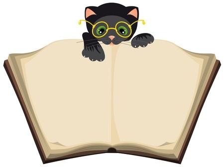 cat open: Cat reading  open Book  Illustration in vector format EPS Illustration