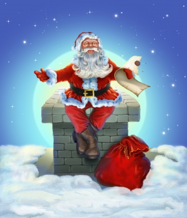 Santa Claus sitting on the roof photo