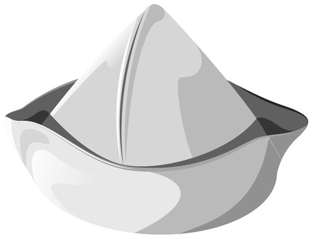 peaked cap: White sea hat isolated  Illustration in vector format