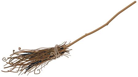 Old broom isolated  Illustration in vector format Stock Illustratie