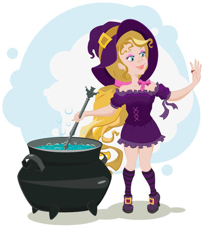 Cute witch cooks potion and admires ring  Illustration in vector format