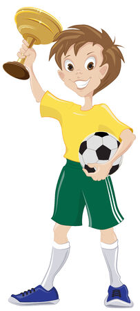 teeny: Happy soccer fan holds cup and ball  Illustration in vector format Illustration