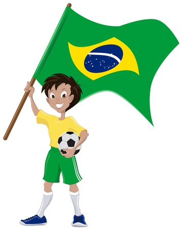 holds: Happy soccer fan holds Brazilian flag  Illustration in vector format