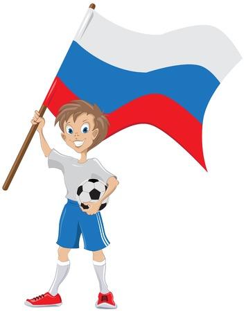 lad: Ventilador de f�tbol feliz sostiene Ilustraci�n bandera rusa en formato vectorial