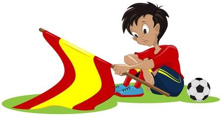 bandiera spagnola: Tifoso triste bandiera spagnola caduto Vettoriali