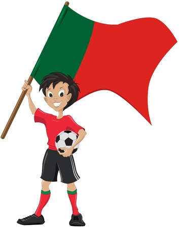holds: Happy soccer fan holds Portugal flag   Illustration