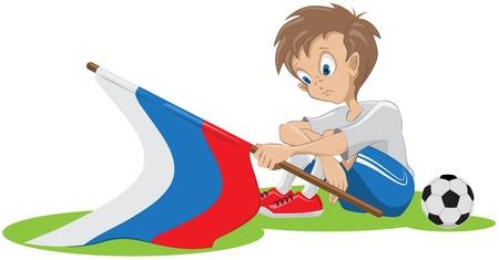 football fan: Sad football fan russian flag dropped