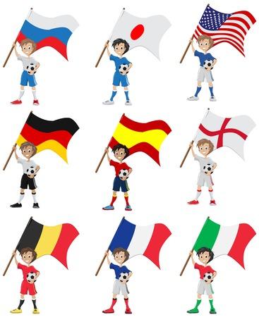 Happy soccer fan holds flag. Illustration in vector format Vector