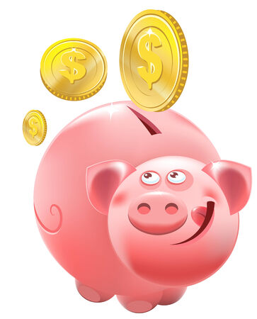 Full Piggy bank. Illustration in vector format Vector