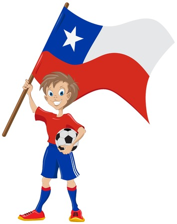 teeny: Happy soccer fan holds Chile flag   Illustration in vector format